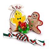 Toozey Weihnachten Hundespielzeug für mittelgroße kleine Hunde, Interaktives Hundespielzeug - Donut Quietschenspielzeug, Süßigkeiten Seilspielzeug, Lebkuchenmann Plüschspielzeug, 3 Stück