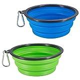 COMSUN Hundennäpfe, Hundeschüssel Set, faltbar, Napf mit Schnalle, Silikon (2 stück, grün+blau...